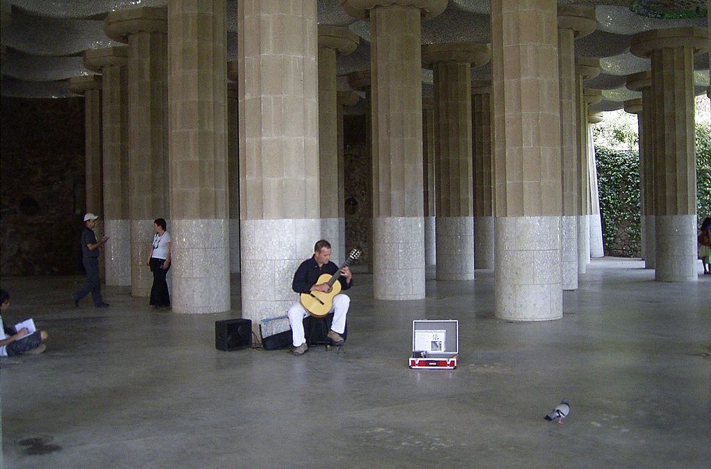 Classical guitarist at Parc Guell, Barcelona
